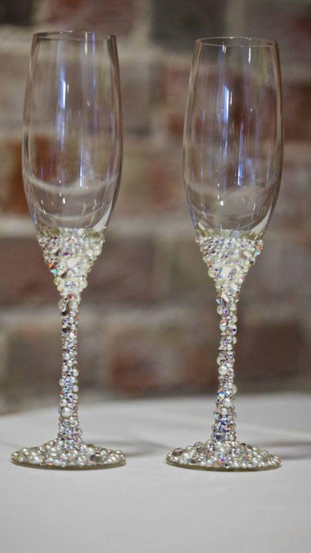Swarovski Crystal Champagne Glasses Wedding Timeee