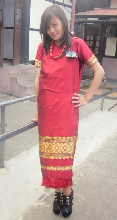 My niece in the Khasi Traditional Dress called Dhara.
