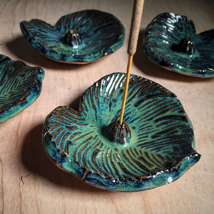 Beautiful turquoise leaf incense holder