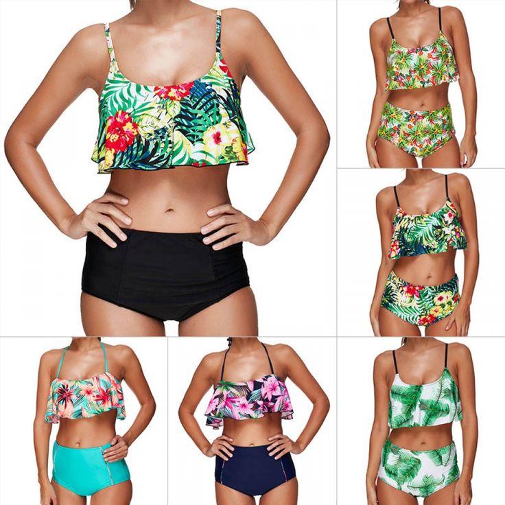 Cute Bohemian High-Waisted Women's Bikini Set
