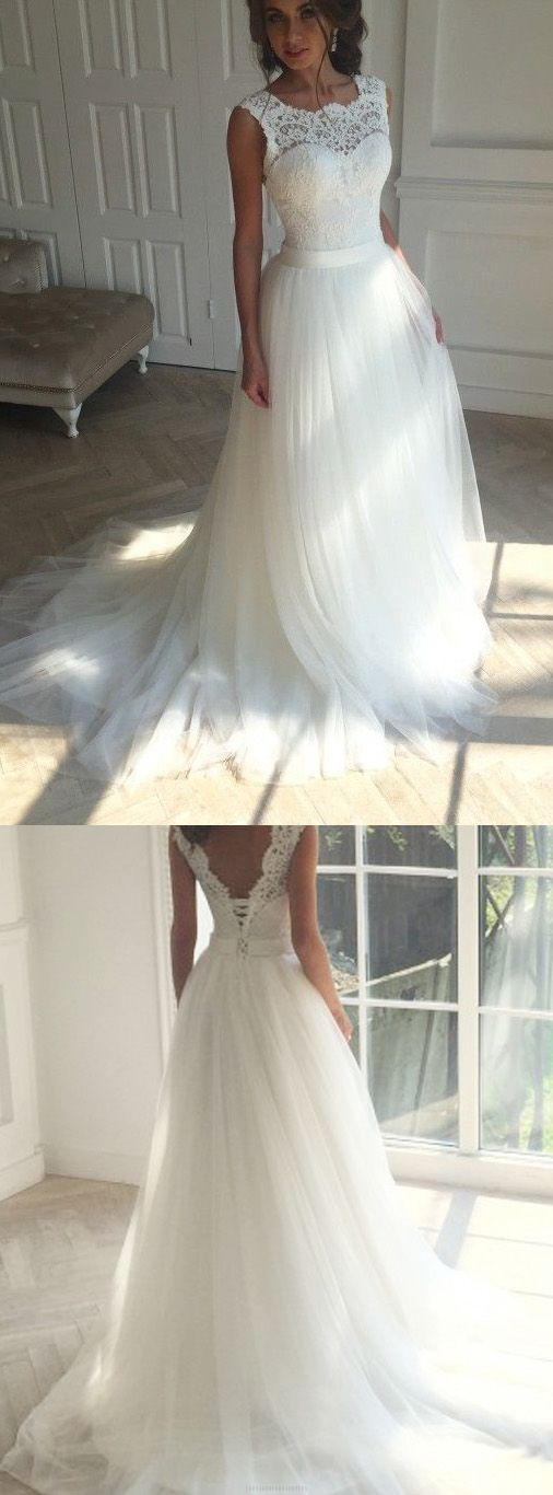 Long Princess Wedding Dresses, Ivory Sleeveless With Applique Sweep Train Wedding Dresses