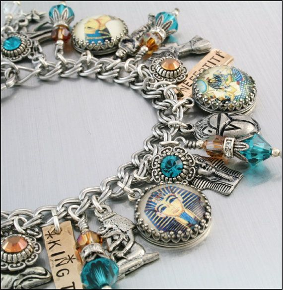Cleopatra Charm Bracelet King Tut Silver by BlackberryDesigns, $87.00