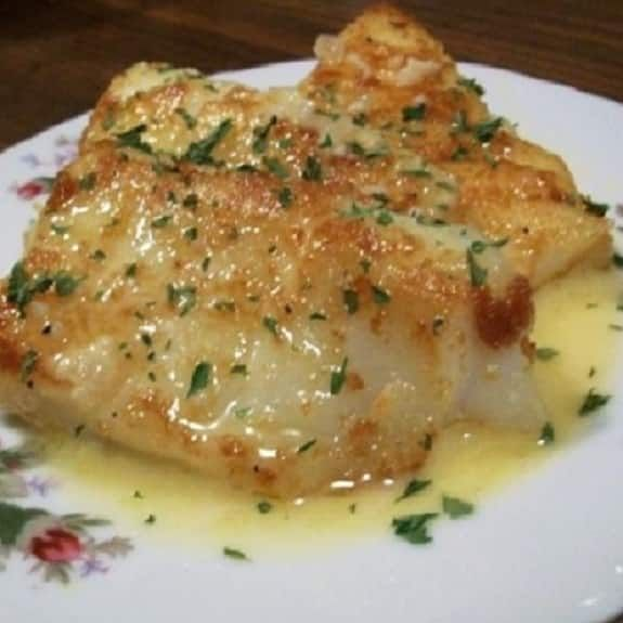 Oven baked sole with lemon sauce. Sole fillets with delicious homemade sauce baked in oven.  (I used a nice piece of Cod and just adjusted the baking time since the fish was thicker than sole).
