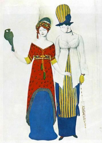 By Leon Bakst, 1 9 1 0, Fantasy on modern costume.