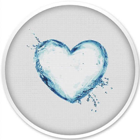 Heart Cross Stitch Pattern Water Heart Watercolor Cross Stitch