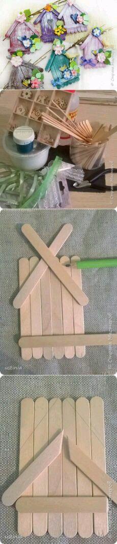más y más manualidades: Crea pequeños adornos usando palitos de madera
