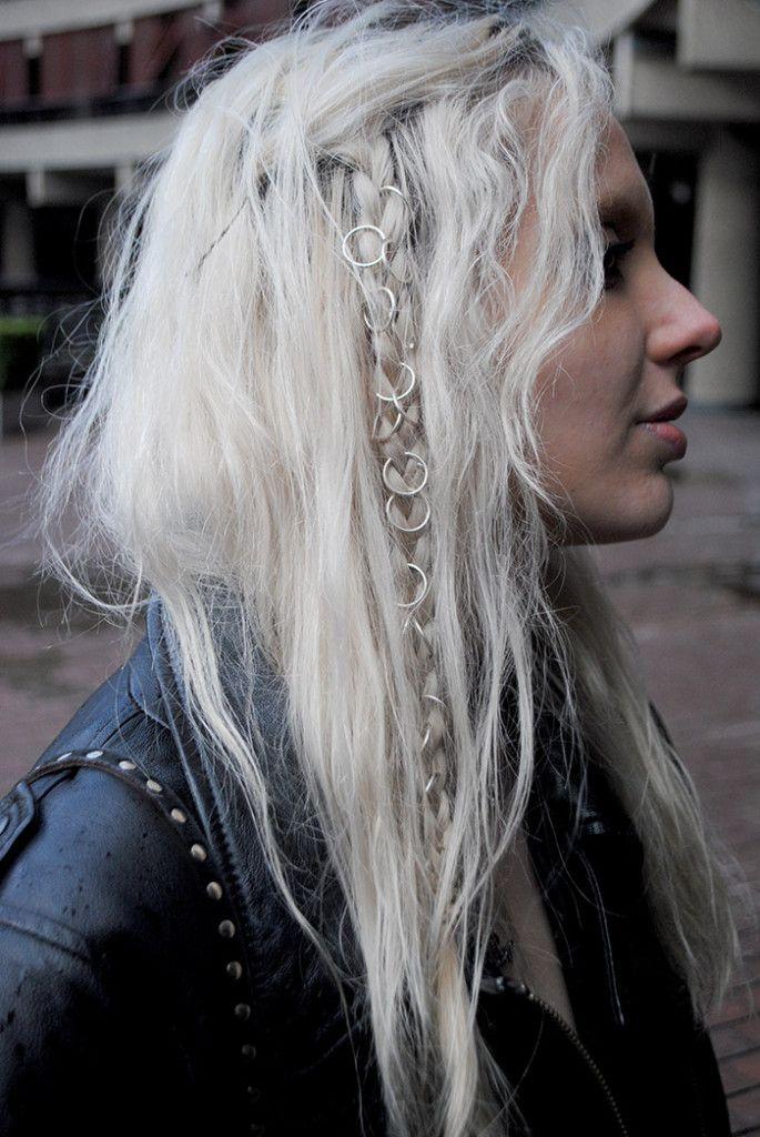 regal rose hair rings pleat hair style platinum blonde silver boho