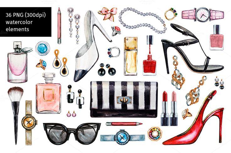 Watercolor female accessories set by Svetlana Kazakova on @creativemarket
