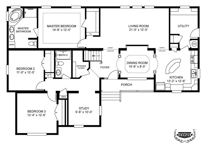 An option for a basement clayton homes home floor for Double wide floor plans with basement