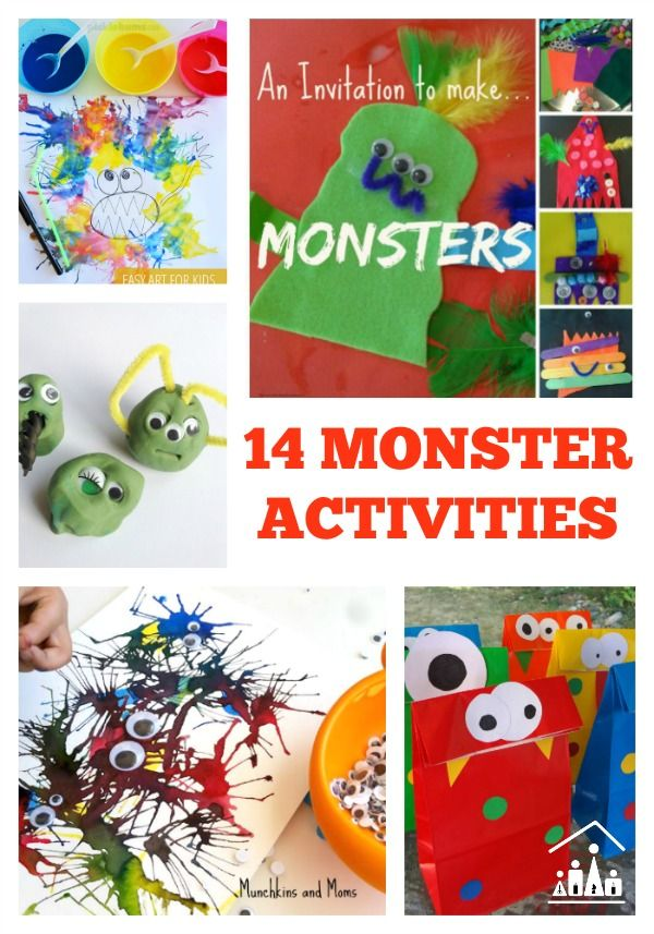 14 Monster activities for kids. Ideal for Halloween or anytime you need to keep your little monsters entertained.