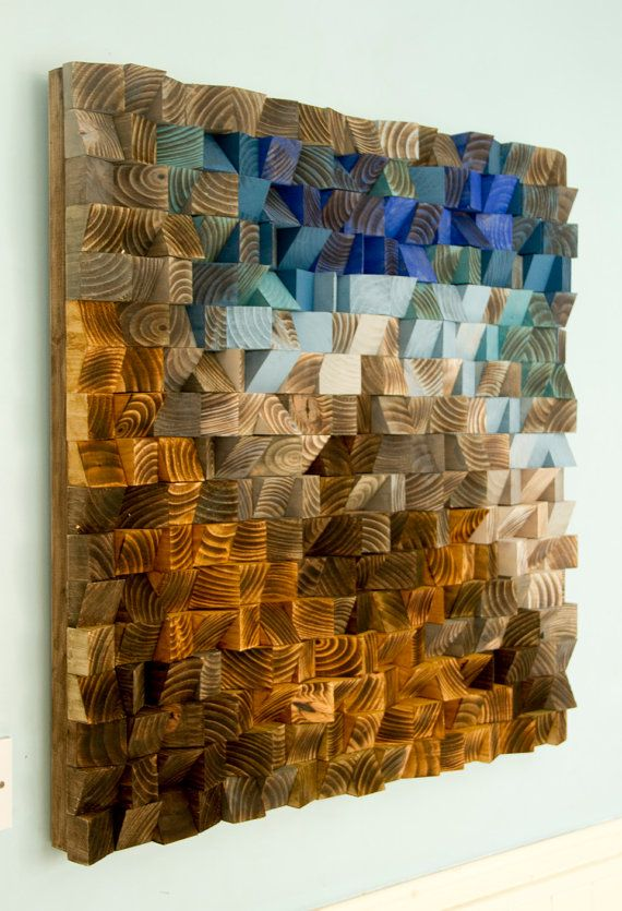 Wood Wall Art from reclaimed wood, 3D triangles, hand painted, woodburned, cut, dyed and sanded. Each piece is painted in unique acrylic or wood dye colours mixed by me, and not available in any shop, making the sculpture unique and one of a kind. Each wood piece is cut into triangles, woodburned and hand sanded, dyed or painted to receive this modern abstract look piece. Wood pieces are painted in a special way that after assembling I create unique shape and the light is giving different…