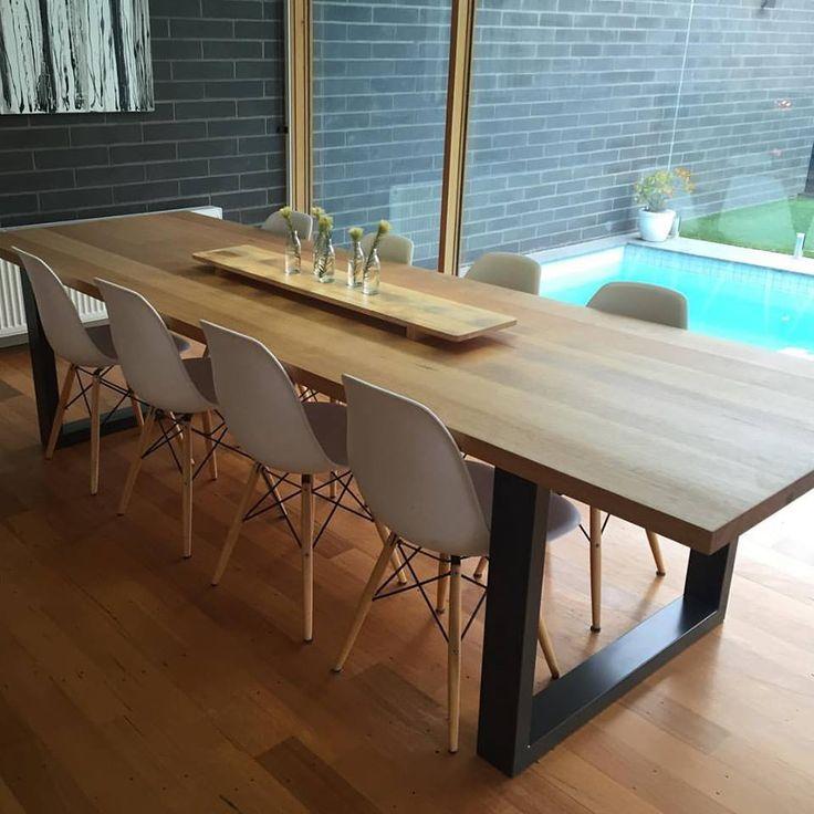 Vic Ash Dining Table, Powder Coated Steel Loop Legs. Dulux 'Monument' Powdercoat