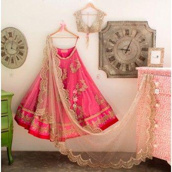 Poly Silk Machine Work Pink Semi Stitched Lehenga - RF01