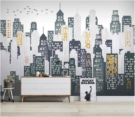 Modern Minimalist Urban Geometric Removable Wall Fabric Wallpaper Peel And Stick Wall Self Adhesive Wallpaper Architecture Wall Mural In 2021 Living Room Murals Office Wall Design Office Mural