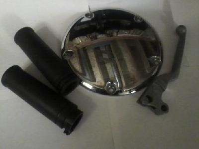 Here I Am Selling Pre-Owned Harley Davidson Parts.Part #1 Is A Multi-Fit Chrome Derby Cover.It Fits '99 And Later Evolution 1340 And Twin Cam Equipped Models.On The Back Of The Chrome Cover Is HD 25415-99,413 Cav 2.Part #2 Is A Clutch Lever This Lever Fits '82-Later Models.Part #3 Is A Pair Of Grips These Grips Fit All Models '96-Later Models.
