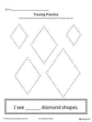 Geometric Shape Counting and Tracing: Diamond Worksheet.Practice counting and tracing the geometric shape diamond in this printable worksheet.