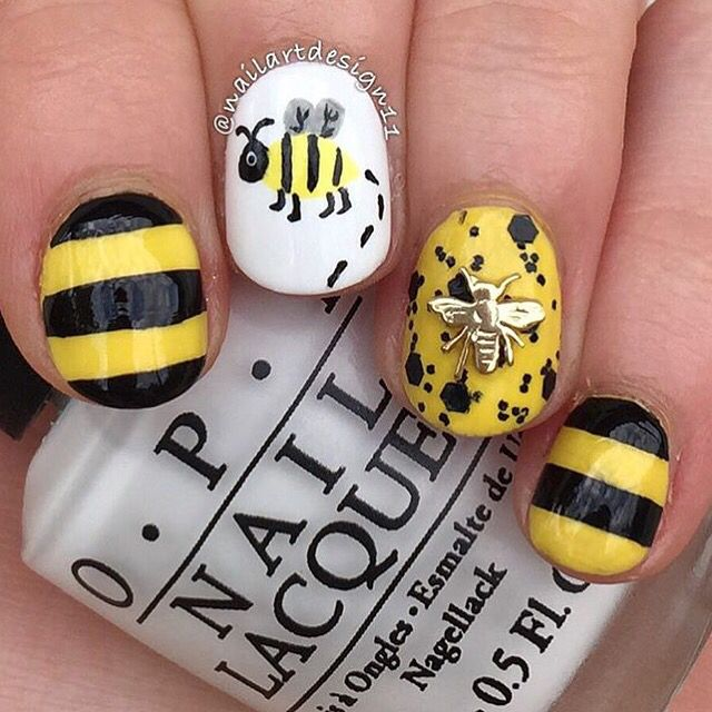 48 best nail art bees images on pinterest bees bumble bees and straight nail vinyls animal nail designsnail art prinsesfo Choice Image