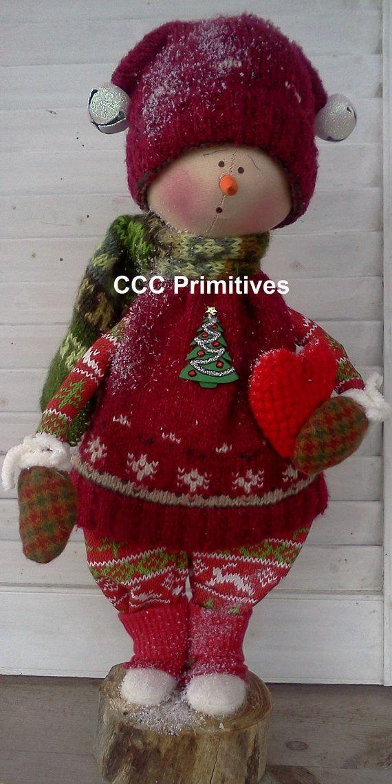 Tommy Primitive Snowman  Handmade Primitive by CCCPrimitives