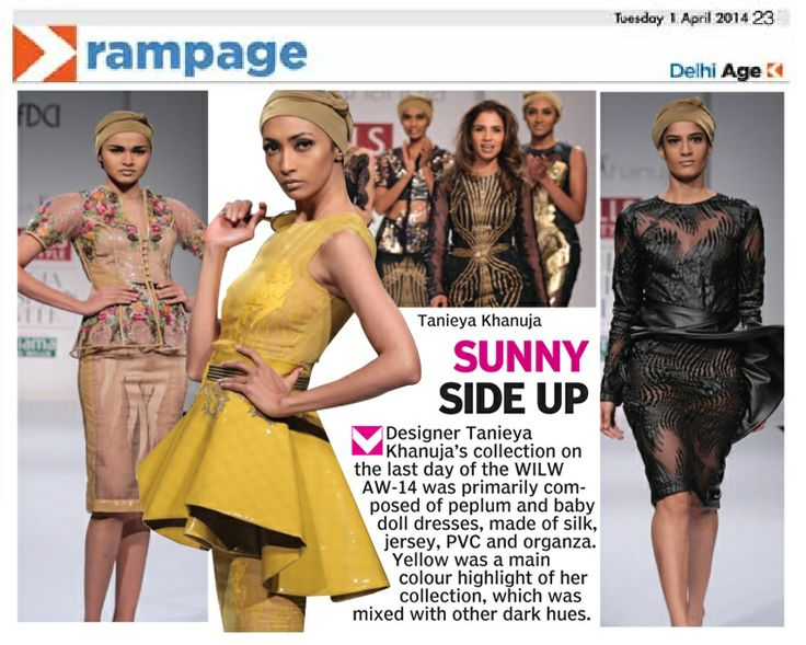Designer Tanieya Khanuja_  Asian Age Coverage_ 1st April'14