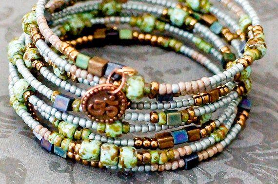 Ladies Boho Gypsy style bracelet wrap bracelet by AnjouBijoux