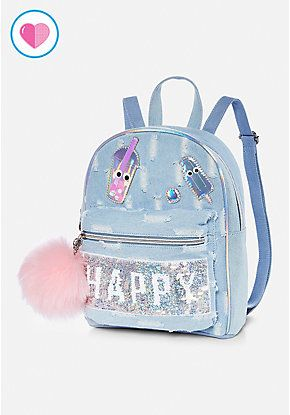 Flip Sequin Denim Mini Backpack  b2d1bf9eab068
