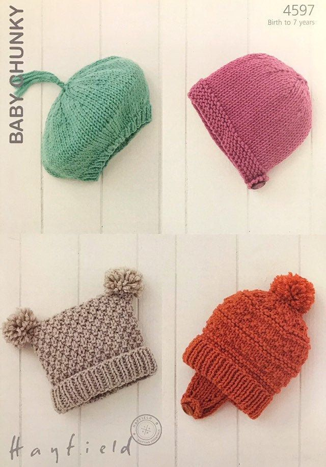 Baby and Child Hats in Sirdar Snuggly Baby Crofter DK 1930 Knitting Pattern
