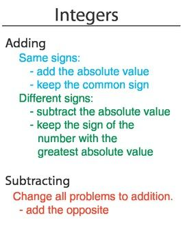 Worksheets Adding And Subtracting Integers Rules 17 best ideas about integer rules on pinterest adding and this is a two poster set that explains the of subtracting multiplying