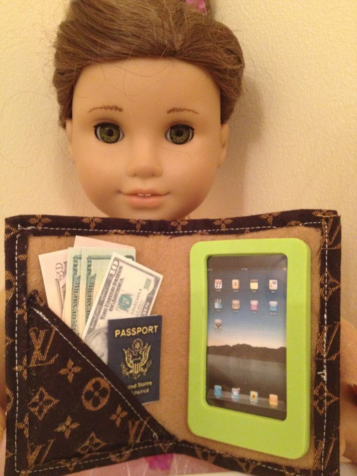 Louis Vuitton iPad case for your American girl or 18 inch doll. $20.00, via Etsy.