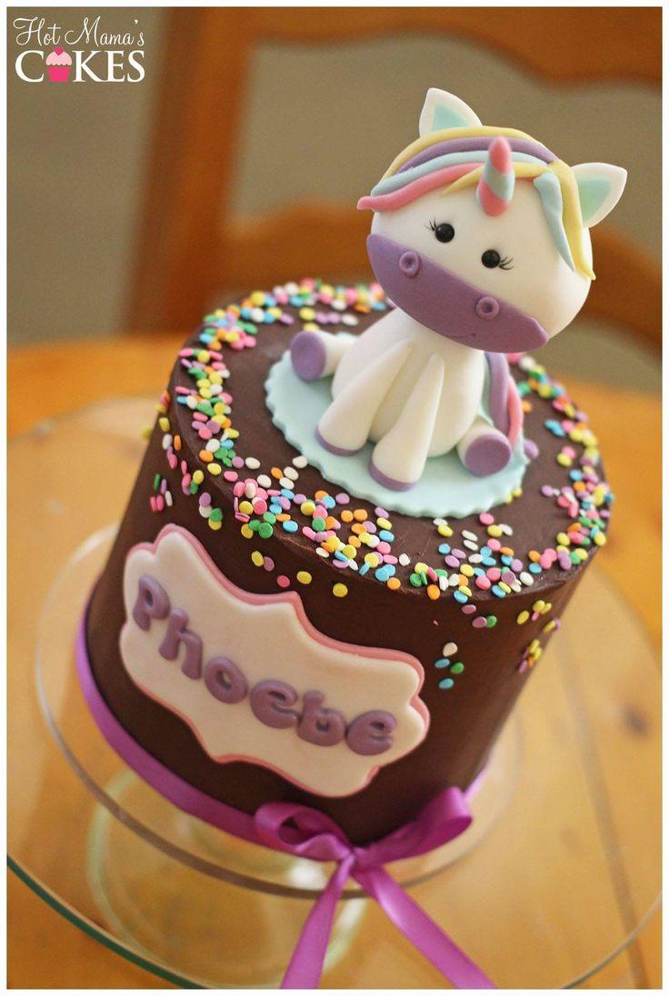 Tarta con figura de unicornio