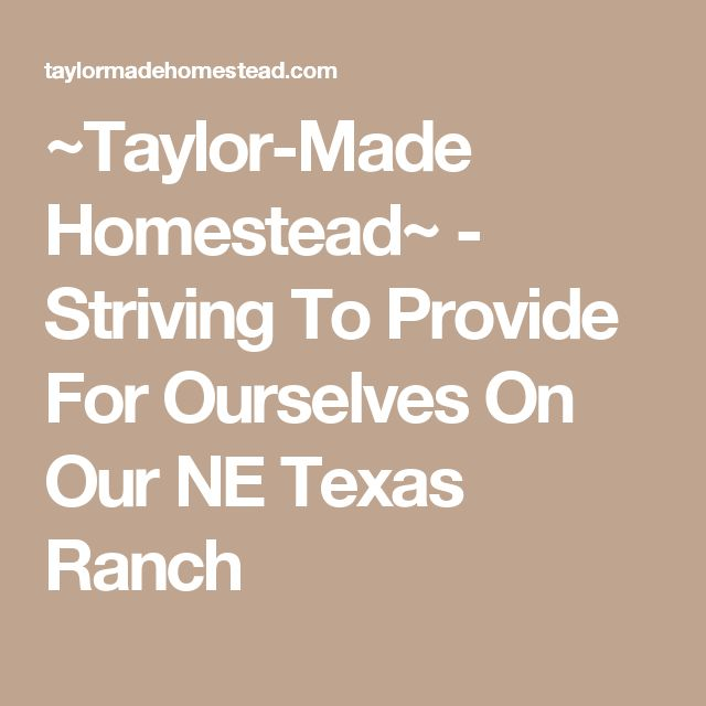 ~Taylor-Made Homestead~ - Striving To Provide For Ourselves On Our NE Texas Ranch