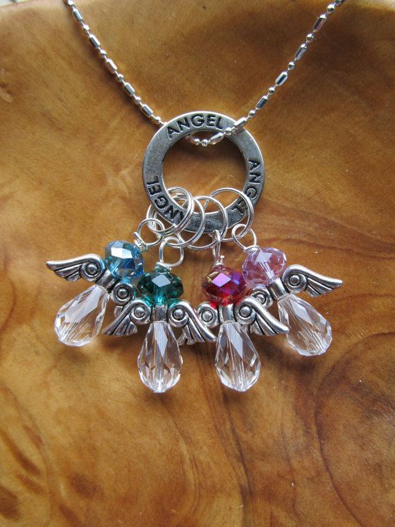 ANGEL Birthstone Charm Necklace Choose any by DestinyAccessory, $26.00