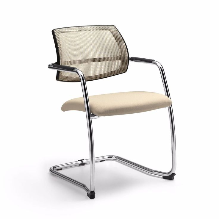 Coppia di sedie fisse d'attesa con sedile in tessuto e schienale in rete