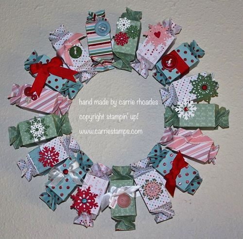 holiday wreath out of the candy wrapper die