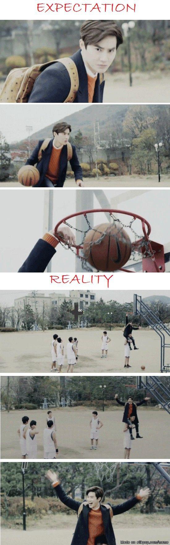 Suho playing basketball..