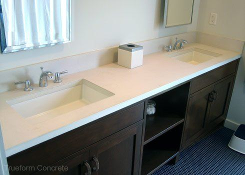 Charming Concrete Vanity Top With Undermount Sinks. #Concrete #Vanity Tops  Trueform  Concrete Custom