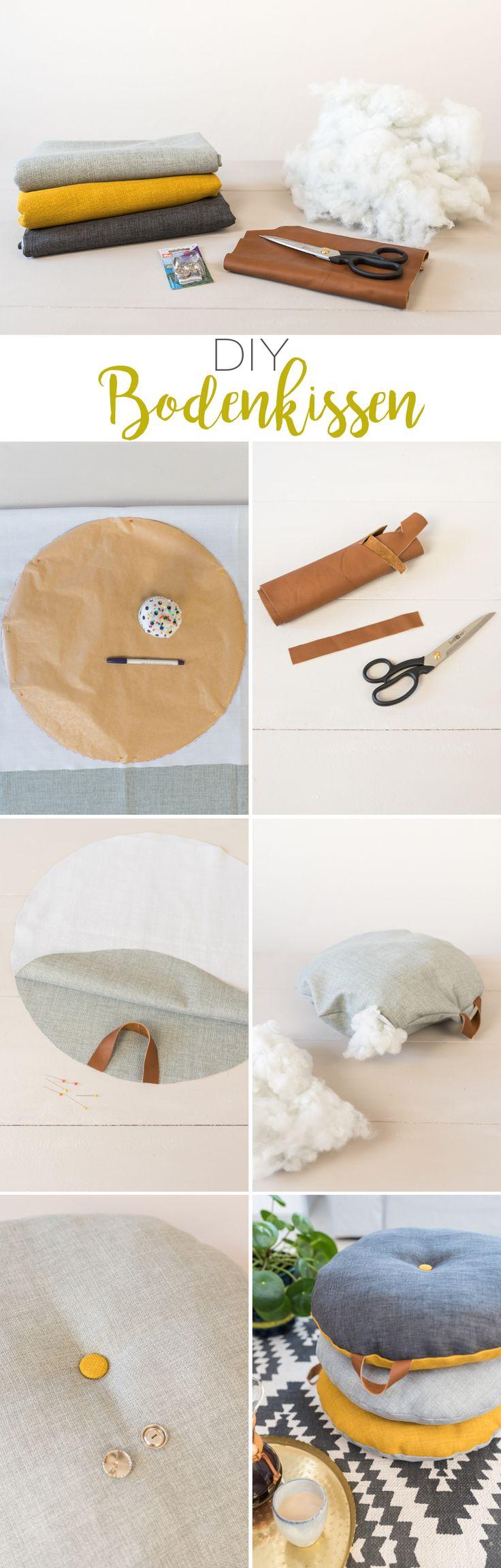 DIY - runde Bodenkissen mit Ledergriff - Leelah Loves