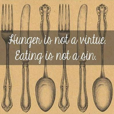 Hunger is not a virtue. Eating is not a sin. Eat and be merry.