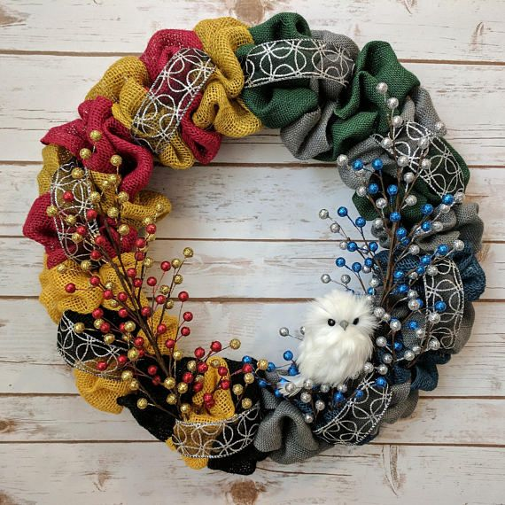 MADE TO ORDER: Harry Potter Themed Owl Wreath Four House