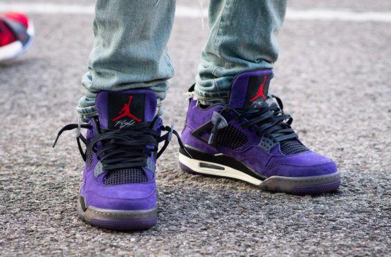 An On Feet Look At The Travis Scott X Air Jordan 4 Purple Suede