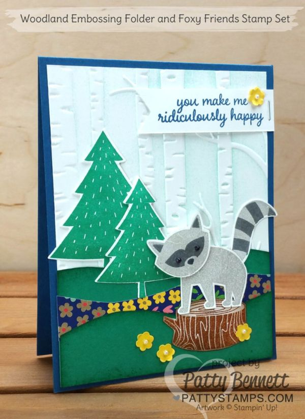 chrome heart earring Foxy Friends Stampin   Up cards with the Woodland Embossing Folder  available