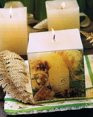 Velas navideñas decoradas con servilletas de decoupage DIY