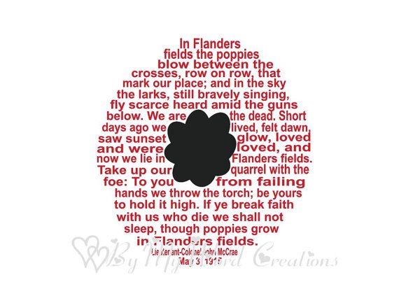 Poppy Art In Flanders Fields Art WWII Word by ByMyWordCreations