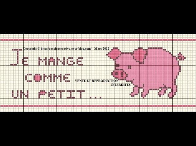 bébé - baby - cochon - je mange comme un petit ... - point de croix - cross stitch - Blog : http://broderiemimie44.canalblog.com/