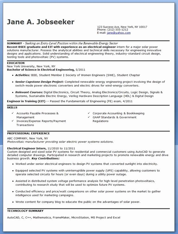 Entry Level Electrical Engineer Resume Lovely Electrical Engineer Resume Sample Pdf Entr In 2020 Engineering Resume Engineering Resume Templates Electrical Engineering