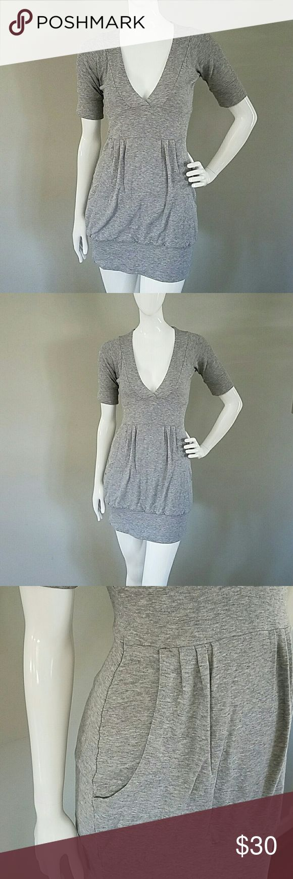 Sweater dress Grey short sleeve sweater dress with pockets!! Can be worn as dress or with leggings Armani Exchange Dresses Mini