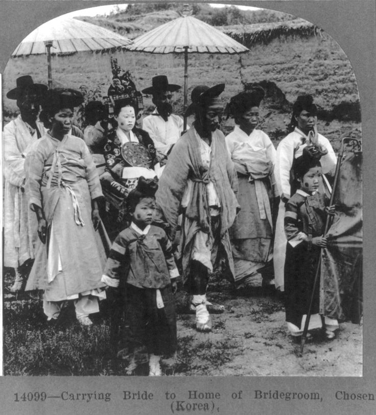 """Carrying bride to home of bridegroom, Chosen (Korea)"" Published 1919 (earlier origin), Keystone View Co. Stereograph, Library of Congress"