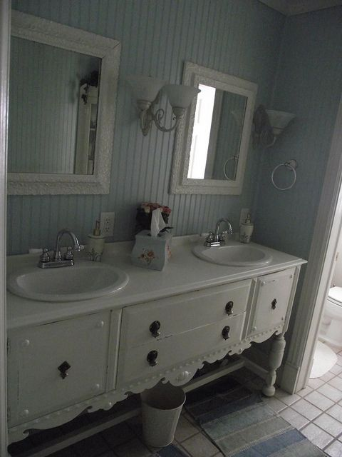 Buffet Turned Sink Beadboard Bathroom Ideas Pinterest