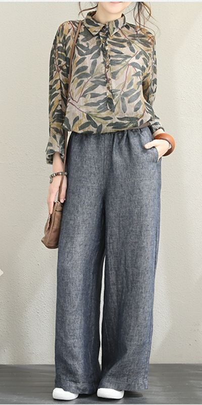 Awesome Fashion Casual Linen Wide Leg Pants For Women Q1399