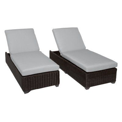 TK Classics Venice Outdoor Chaise Lounge - Set of 2 Chairs and Cushion Covers Gray - VENICE-2X-GREY