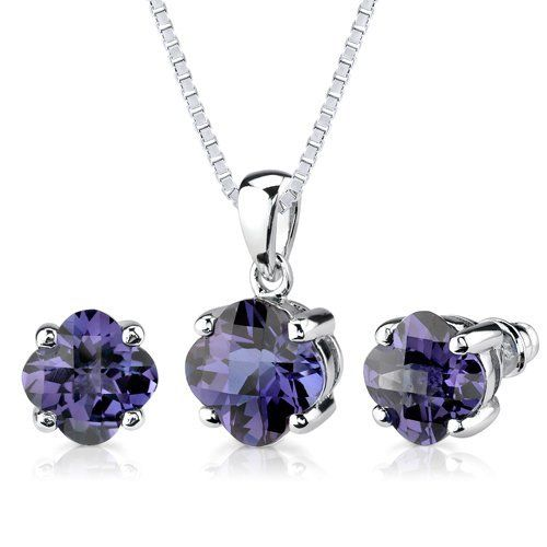 Classic Perfection: 8.25 carat Checkerboard Lily Cut Alexandrite Pendant Earring Set in Sterling Silver Rhodium Finish Peora. $99.99. Save 67%!